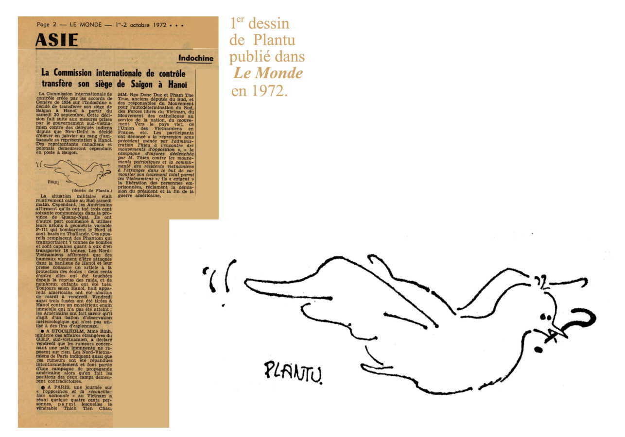fig. 1 - Premier dessin de Plantu publié dans Le Monde du 2 octobre 1972.